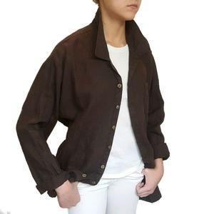 FLAX Lagenlook Collard Long Sleeve Linen Shirt M